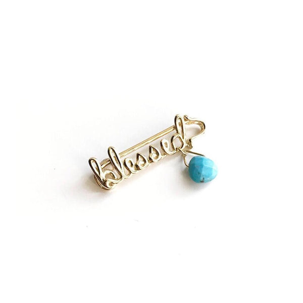 18K Gold Safety Pin Blessed | Abracadabra | Baby | Pin | Fine Jewelry