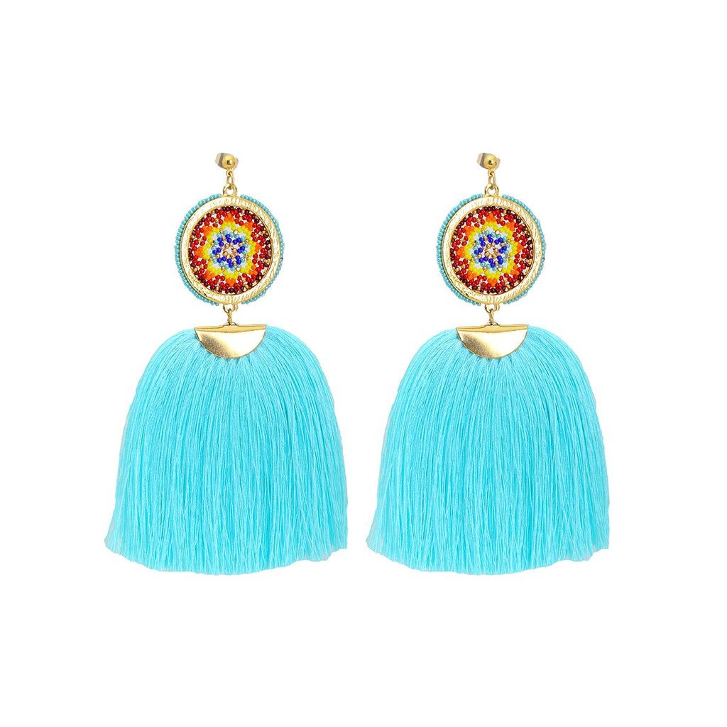 Small Circle Large Tassel Earrings | Morena Marini | Fashion Accessories |Earrings