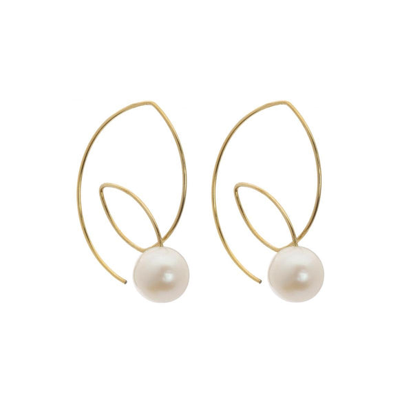 White Pearls Angle Loop Earrings | Melissa McArthur | Fashion Accessories | Earrings