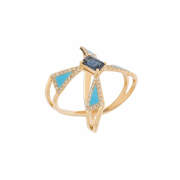 18K Gold Blue Sapphire Inlay With Turquoise Ring | Latelier Nawbar | Fine Jewelry | Earrings