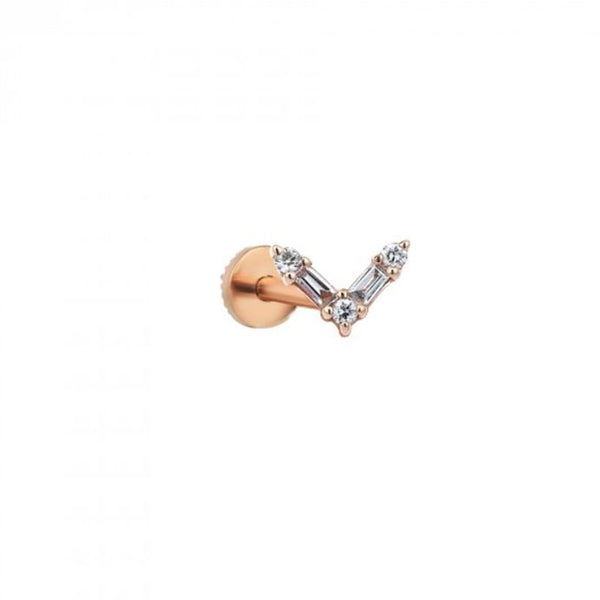 Single Piece 14K Rose Gold V Baguette Stud Earring | Kismet by Milka | Fine Jewelry | Earrings