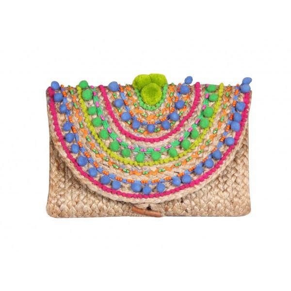Pompom Fiesta Jute Clutch| America & Beyond |Bag | Clutches