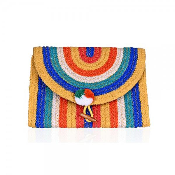 Rainbow Stripe Flap Clutch| America & Beyond |Bag | Clutches