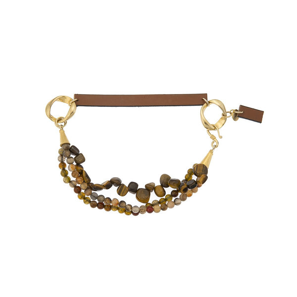 Tiger Eye Agate Leather Choker | Monmu Jewelry | Fashion Accessories | Necklace