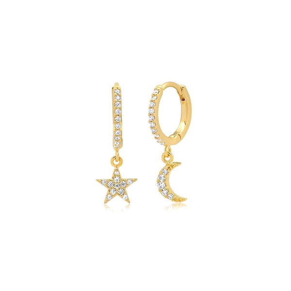 Moon And Star Huggie Earrings| Tai | Fashion Accessories |