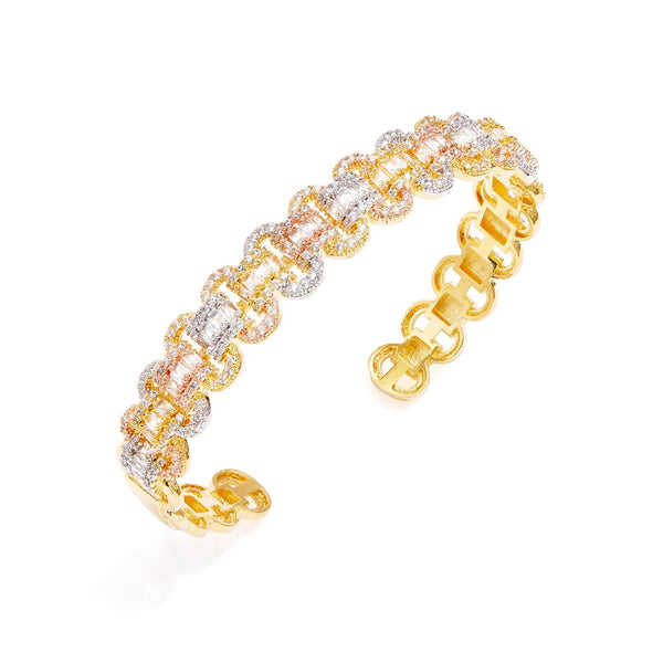 Pave Baguette Chain Cuff Bracelet | Fallon | Fashion Accessories | Bracelet