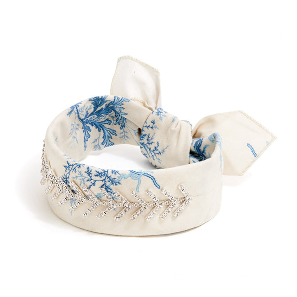 Blue Antique Floral Monarch Bandana Choker | Fallon | Fashion Accessories | Necklace