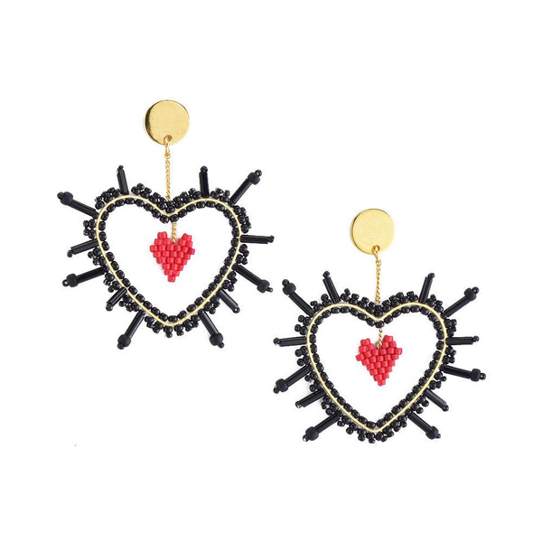 Black Sacred Heart Earrings | Mishky | Fashion Accessories | Earrings