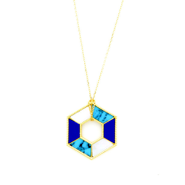 18K Gold Open Hexagon  Necklace | Orchids Jewelry | Fine Jewelry | Necklace