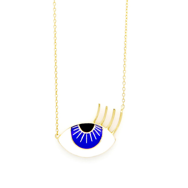 18K Gold Enamel Flirty Aqua Eye Necklace | Orchids Jewelry | Fine Jewelry | Necklace
