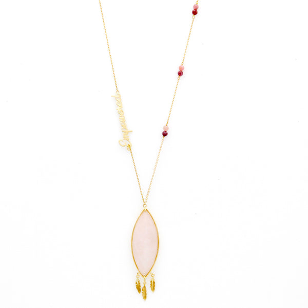 18K Gold Empowered Rose Quartz Necklace | Orchids Jewelry | Fine Jewelry | Necklace