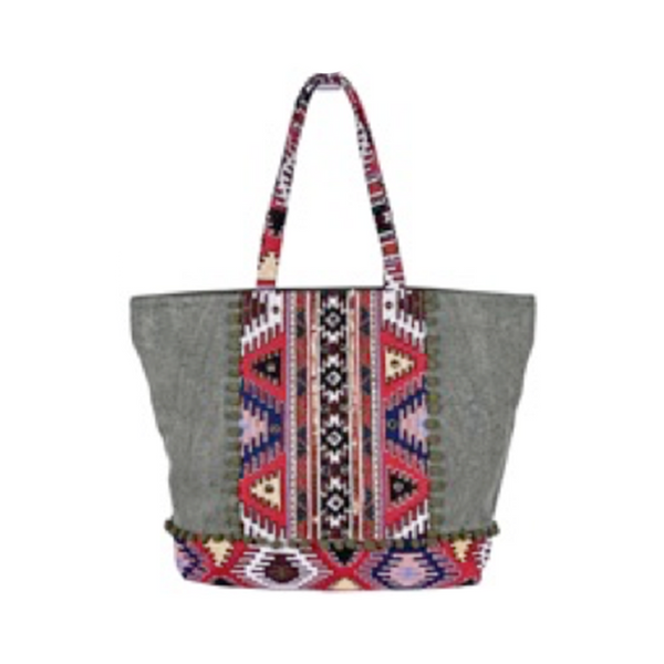 Loden Frost Jacquard Oversized Tote Bag | America & Beyond | Bag | Beach Bag