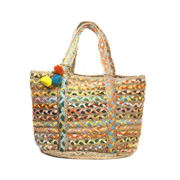 Neon Chindi And Jute Bag | America & Beyond | Bag | Beach Bag