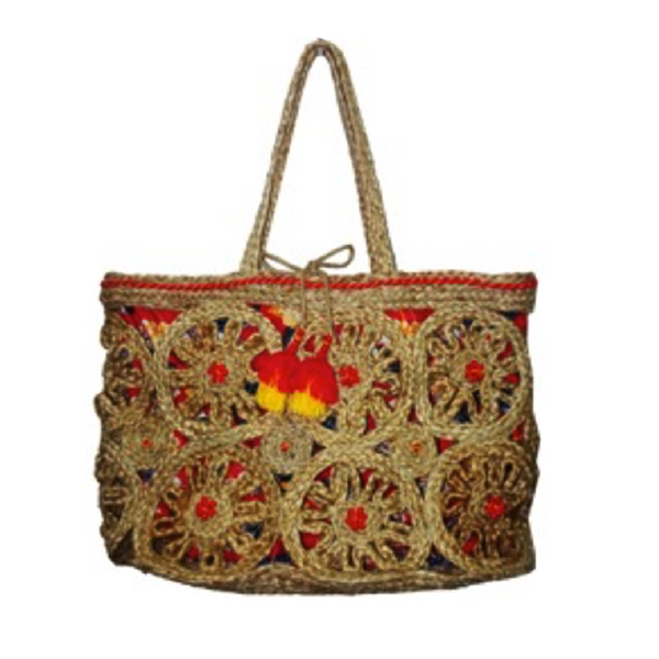 Leopard Lined Jute Cord Handwoven Tote Bag | America & Beyond | Bag | Beach Bag