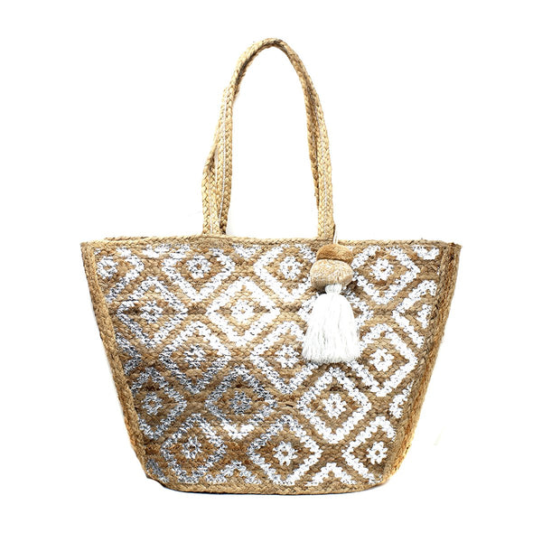 Silver Aztec Printed Jute Tote Bag | America & Beyond | Bag | Beach Bag