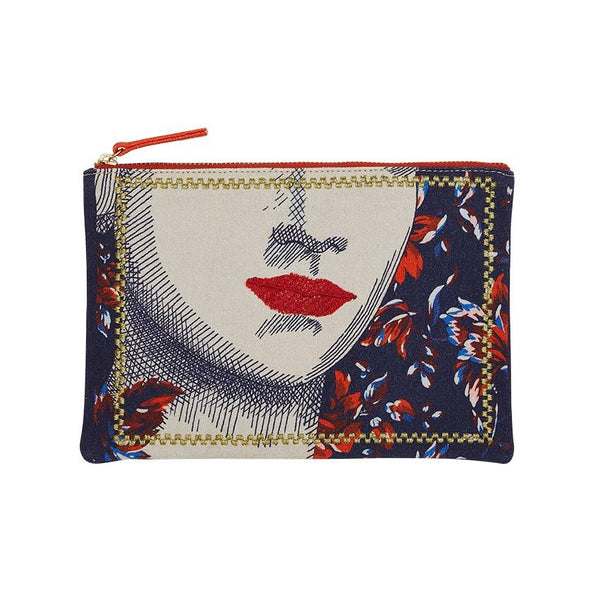 Lips Blue Angel Embroidered Pouch | Inouitoosh | Bags Beauty Cases | Beauty Cases