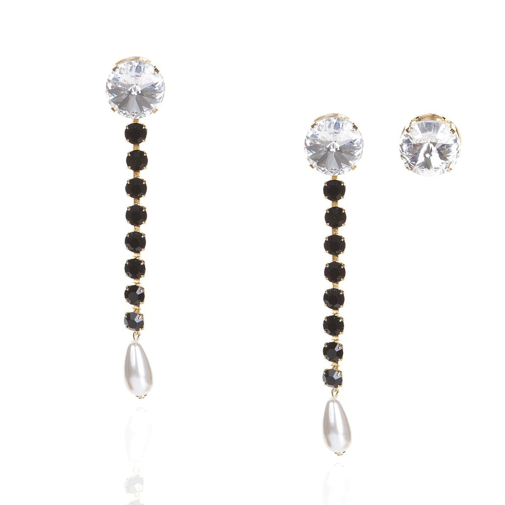 Matt Black Crystals Earrings | Zayn | Fashion Accessories | Earrings