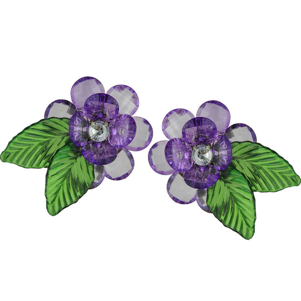 Flower Lavender Acrylic Clip Earrings | Katerina Psoma | Fashion Accessories | Earrings