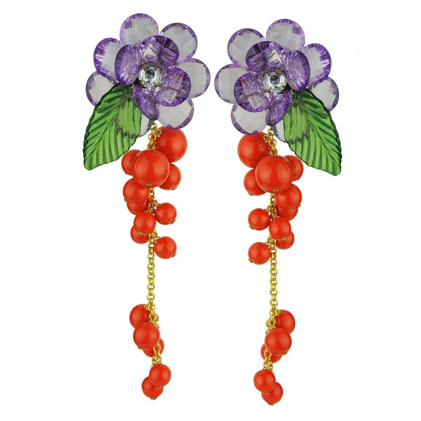 Flower Aqua Acrylic Orange Beads Earrings | Katerina Psoma | Fashion Accessories | Earrings