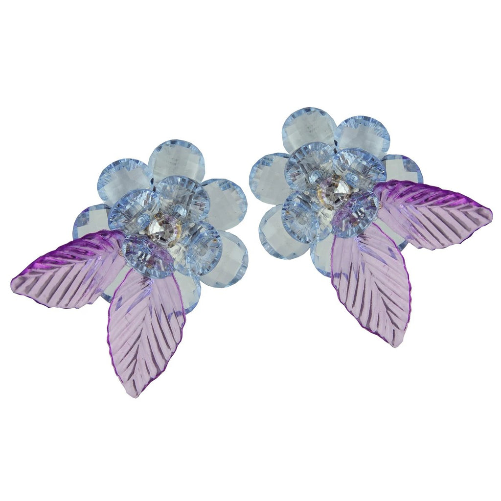 Flower Blue Acrylic Clip Earrings | Katerina Psoma | Fashion Accessories | Earrings