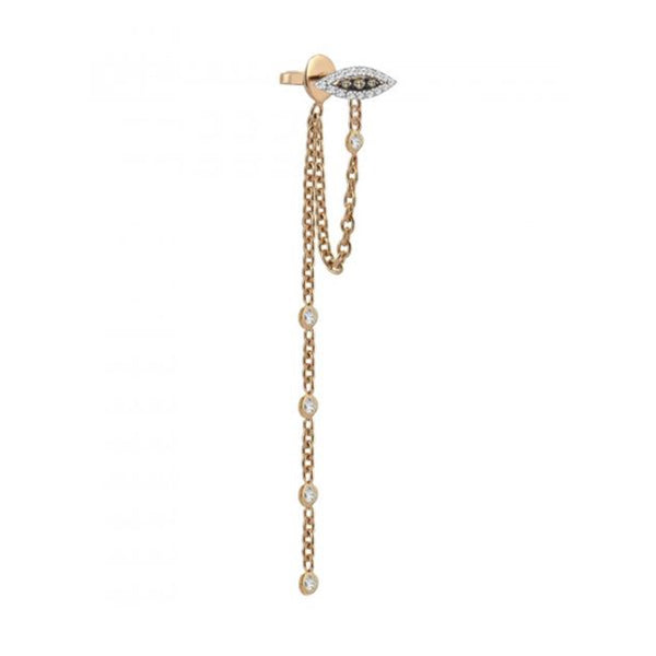 14K Rose Gold Eye Chain Drop Earring | Kismet By Milka Consignment | Fine Jewelry | Earring