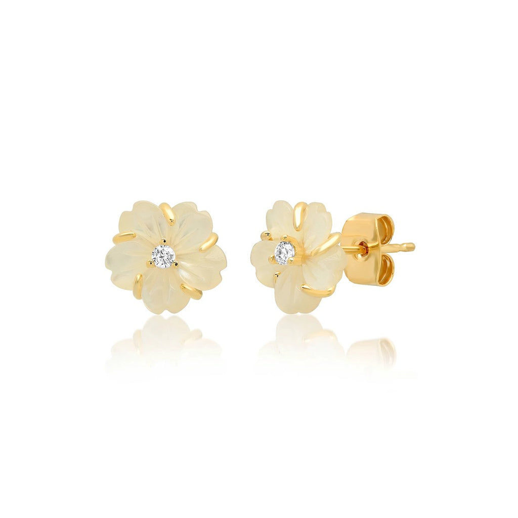 Rose Quartz Flower Post Earring | Tai | Fashion Accessories | Earrings