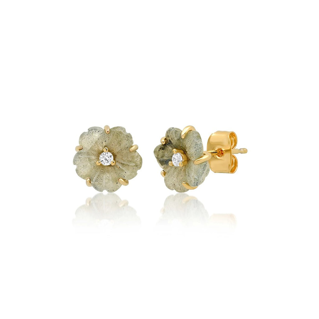 Labradorite Cutting Stone Flower Post Earrings | Tai | Fashion Accessories | Earrings