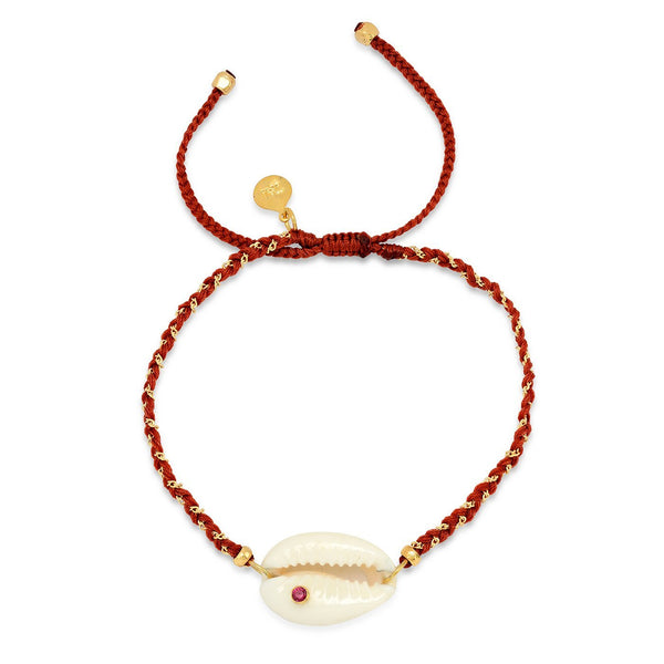 Shell With Red Cubic Zirconia Nylon Bracelet | Tai | Fashion Accessories | Bracelet