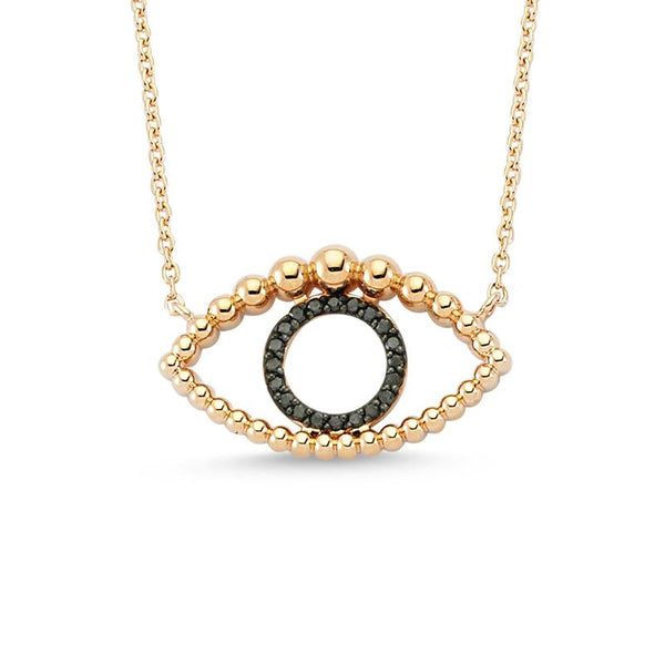 14K Rose Gold Eye Black Diamonds Necklace | Lope | Fine Jewelry | Necklace