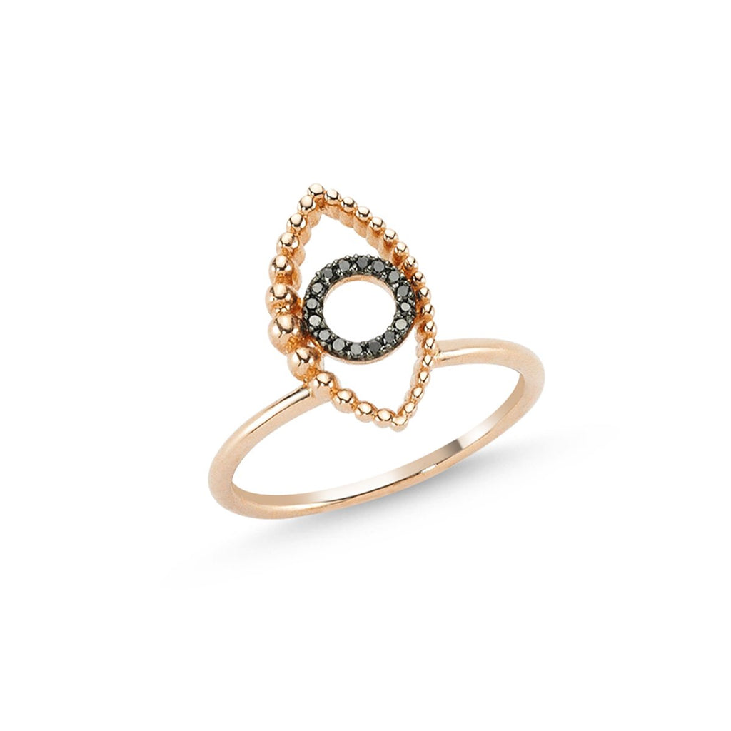 14K Rose Gold Eye Black Diamonds Ring | Lope | Fine Jewelry | Ring