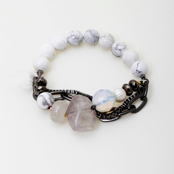 Howlite And Quartz Silver Plated Brass Bracelet | Nakamol Design | Fashion Accessories |  Bracelets