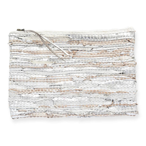 Silver Recycled Leather Clutch | Ink + Alloy | Bag | Clutch