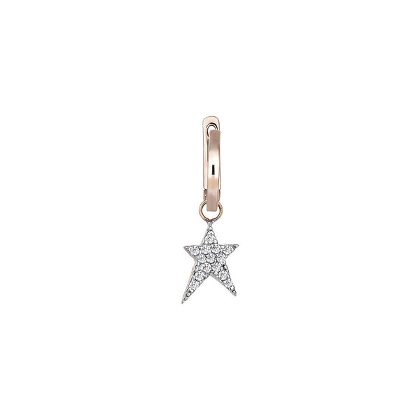 14K Rose Gold Struck Star Hoop Earring | Kismet by Milka | Fine Jewelry | Earrings