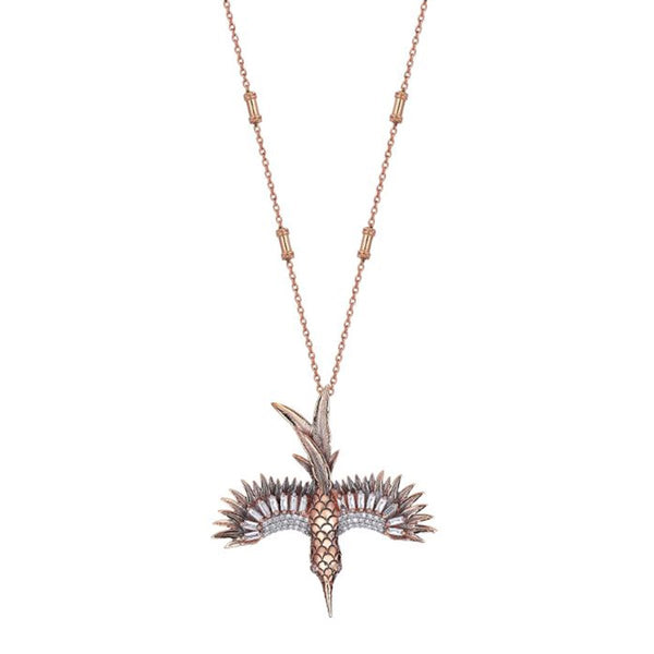 14K Rose Gold Baguette Diamond Encrusted Phoenix Small Necklace | Kismet by Milka | Fine Jewelry | Necklace