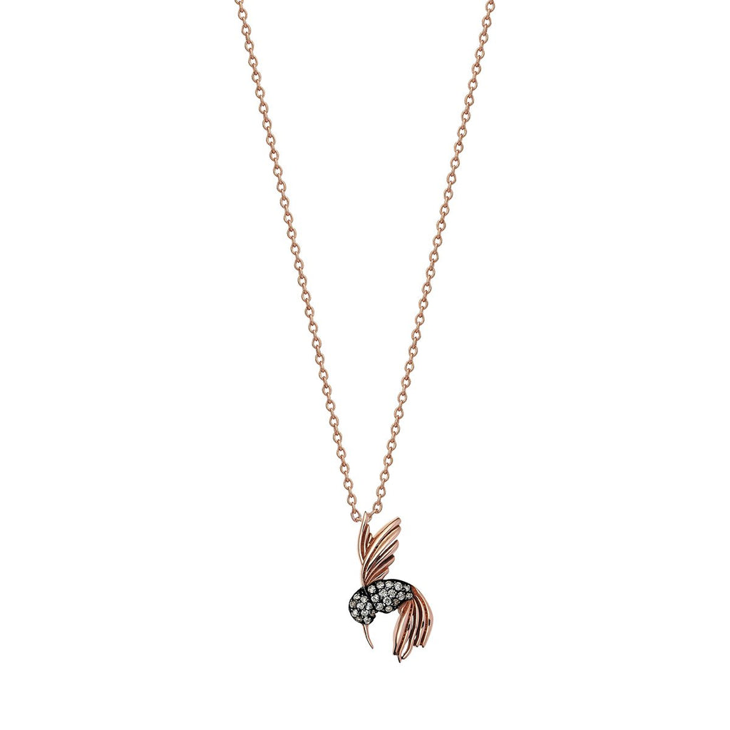 14K Rose Gold Humming Bird Necklace | Kismet by Milka | Fine Jewelry | Neklace