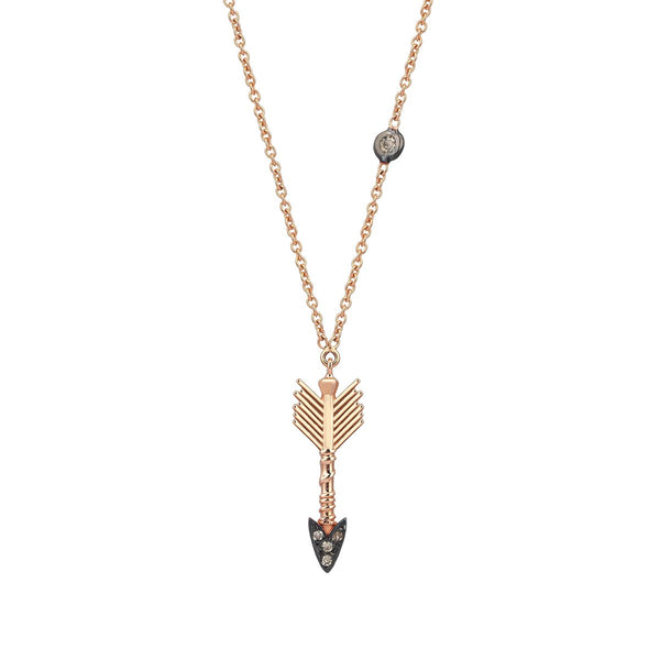 14K Rose Gold Arrow Champagne Necklace | Kismet by Milka | Fine Jewelry | Neklace