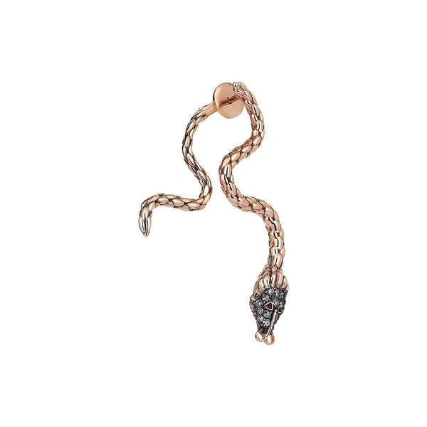 14K Rose Gold Bended Snake Earring | Kismet by Milka | Fine Jewelry | Earrings