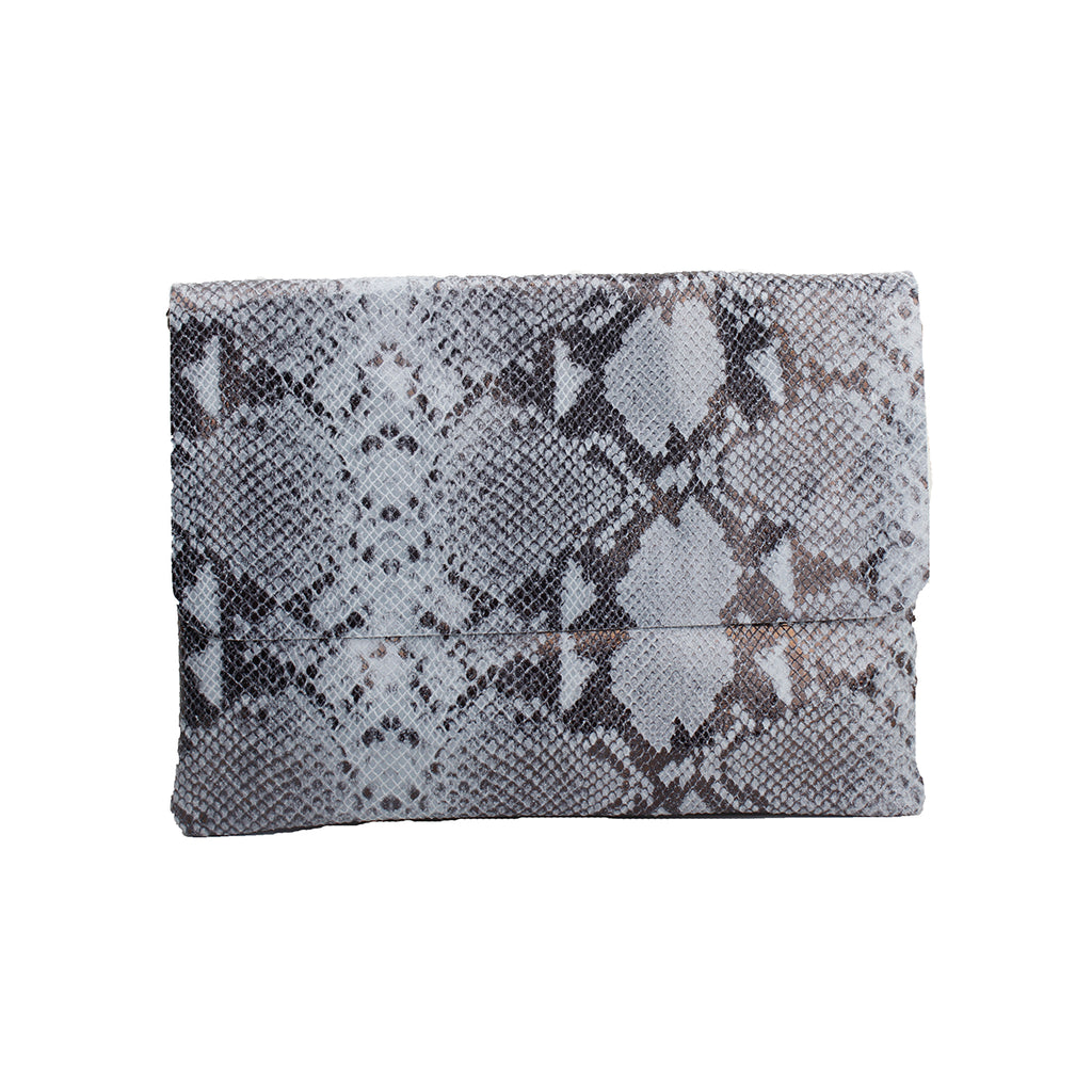 Snake sally leather clutch bag