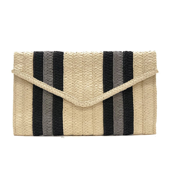 Tan And Grey Stripe Clutch | Btb | Bag | Clutch Bag
