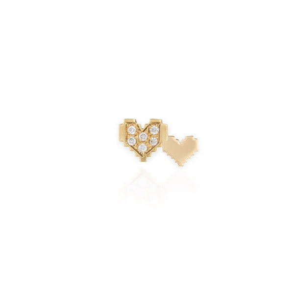 Small Attached Pixel Heart Earring | By Delcy | Fine Jewelry | Earrings