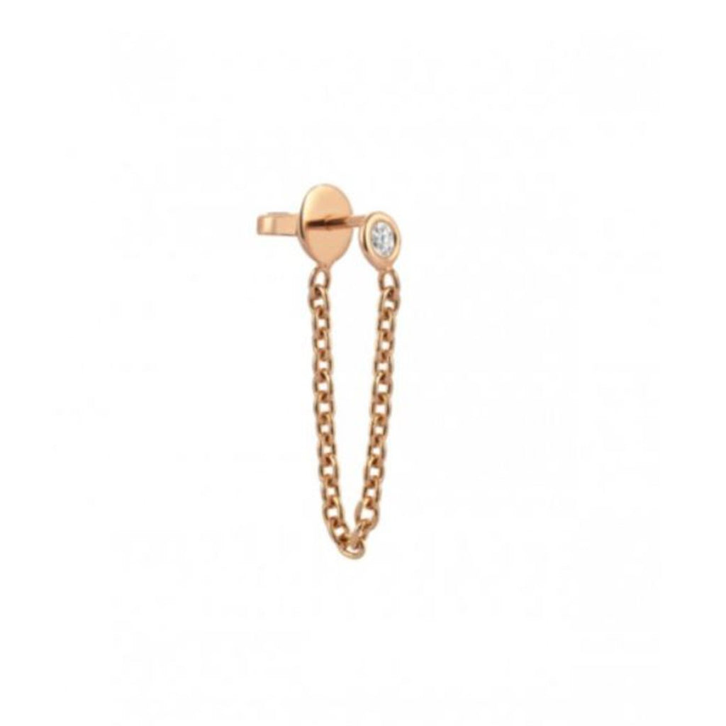 Single Piece 14K Rose Gold Chain Dangle Solitaire Earring | Kismet by Milka | Fine Jewelry | Earrings