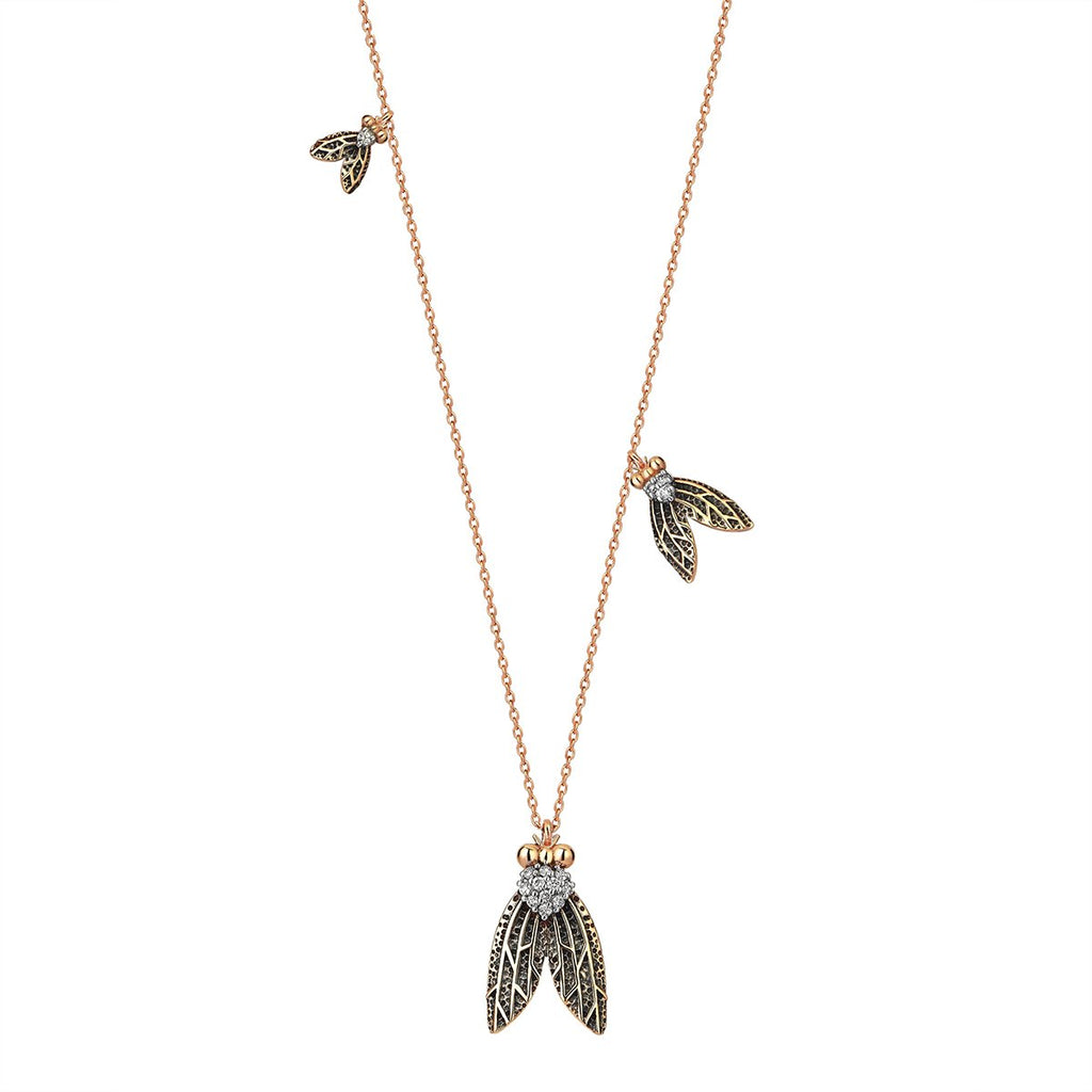 Single Piece 14K Rose Gold Flies Necklace | Kismet by Milka| Fine Jewelry | Necklace