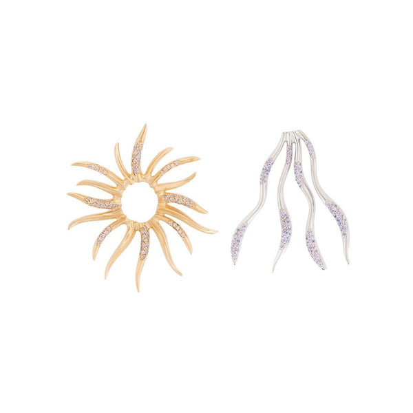 Wave And Sun Pave Earrings | Joanna Laura Constantine | Fashion Accessories | Earrings