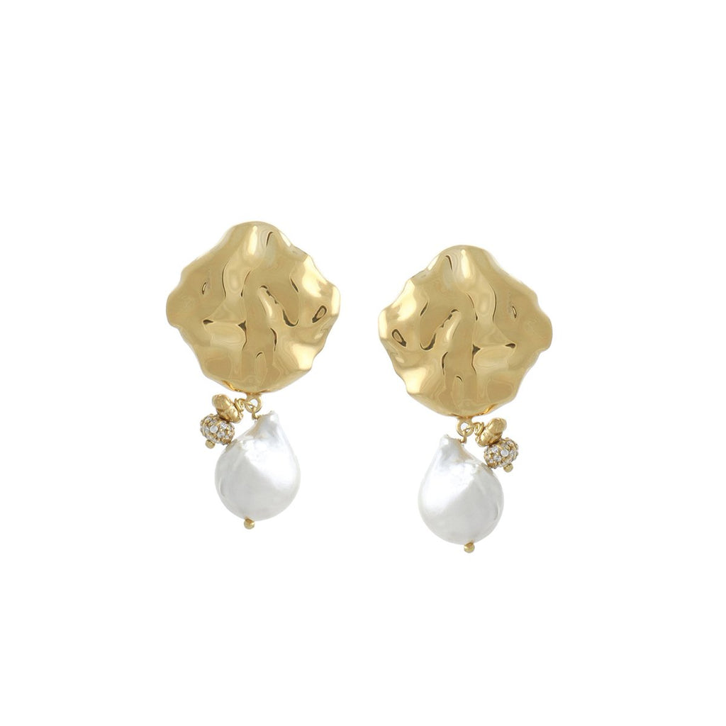 Wave Hammered Pearl Mini Earrings | Joanna Laura Constantine | Fashion Accessories | Earrings