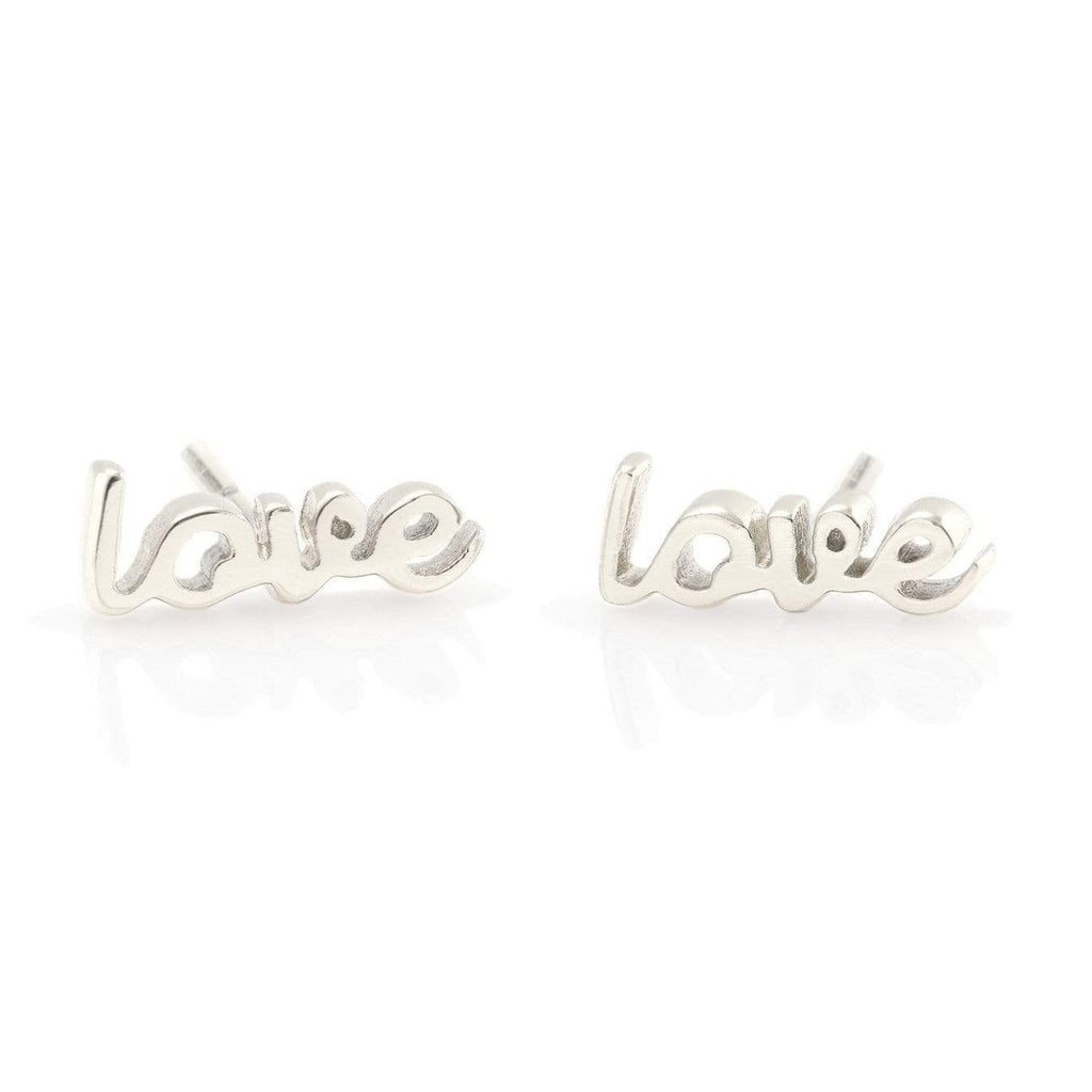 Silver love script earrings | Kris Nation | Fashion Accessories | Earrings
