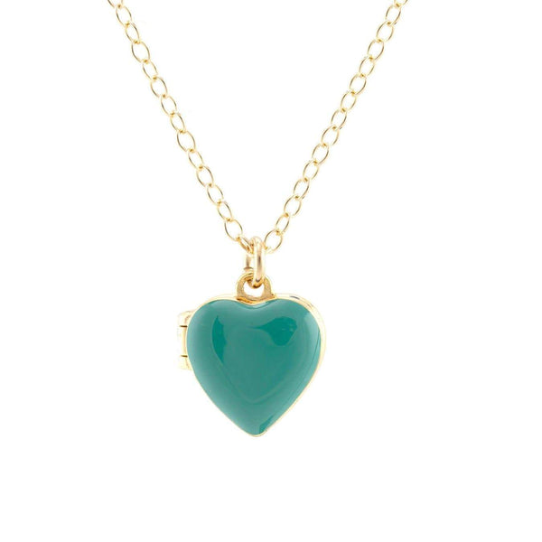 Turquoise heart enamel locket necklace | Kris Nation | Fashion Accessories | Necklace
