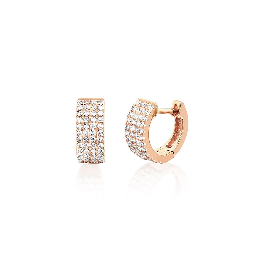 14K Rose Gold  Diamond Jumbo Mini Huggie Earrings | EF Collection | Fine Jewelry | Earrings