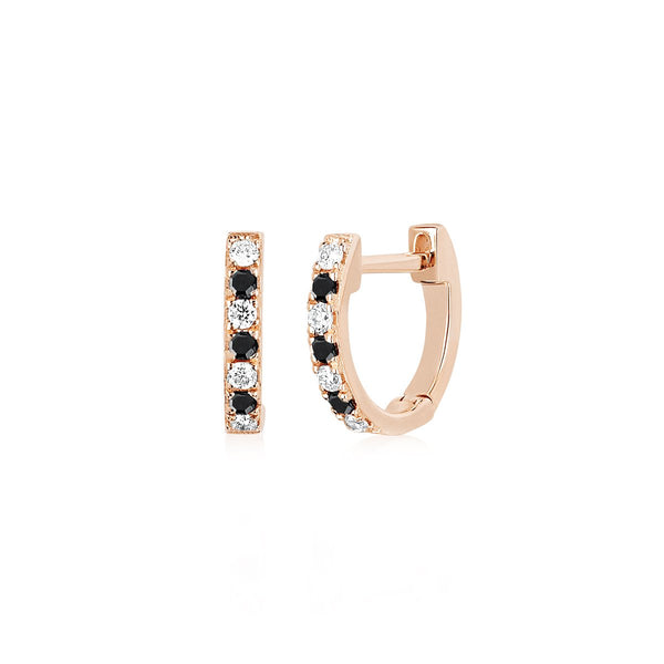 14K Rose Gold  Mini Diamond & Black Diamond Dot Huggie Earrings | EF Collection | Fine Jewelry | Earrings