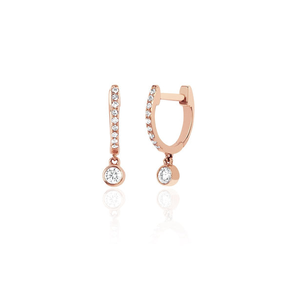 14K Rose Gold  Diamond Mini Huggie With Diamond Bezel Drop Earrings | EF Collection | Fine Jewelry | Earrings