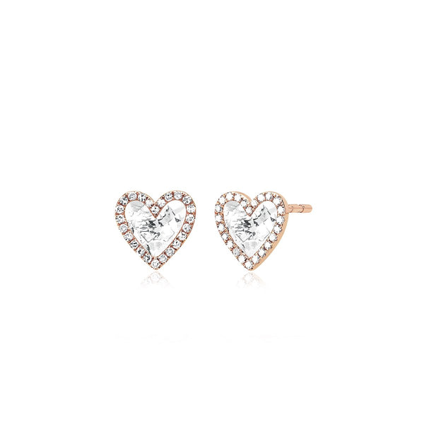 14K Rose Gold  Diamond White Topaz Heart Stud Earrings | EF Collection | Fine Jewelry | Earrings